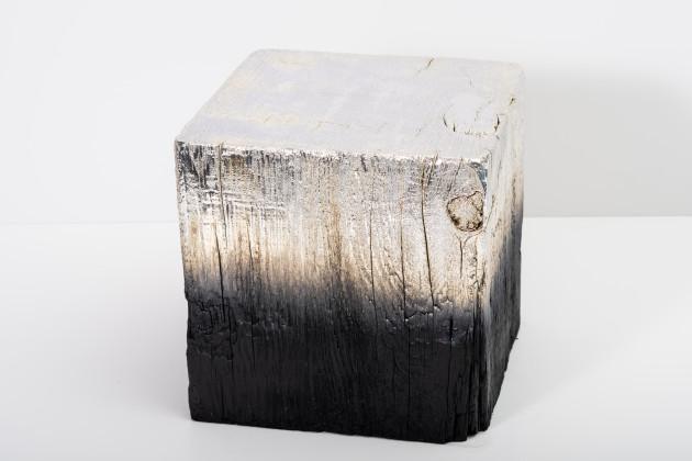 "<span class=""artist""><strong>Miya Ando</strong></span>, <span class=""title""><em>Alchemy (Shou Sugi Ban) Cube 3.19.12.10</em>, 2019</span>"