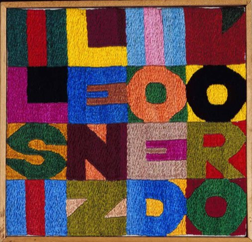 """<span class=""""artist""""><strong>Alighiero Boetti</strong></span>, <span class=""""title""""><em>Il silenzio e d'oro</em>, 1987</span>"""