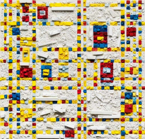 "<span class=""artist""><strong>Vik Muniz</strong></span>, <span class=""title""><em>Metachrome (Broadway Boogie Woogie, after Piet Mondrian)</em>, 2016</span>"