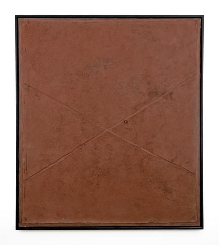 "<span class=""artist""><strong>Antoni Tàpies</strong></span>, <span class=""title""><em>Cross on Brown</em>, 1960</span>"