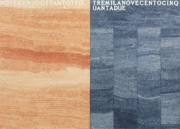 <span class=&#34;artist&#34;><strong>Alighiero Boetti</strong></span>, <span class=&#34;title&#34;><em>La Metà e il Doppio (Novecentoottantotto - Tremilanovecentocinquantadue)</em>, 1976</span>