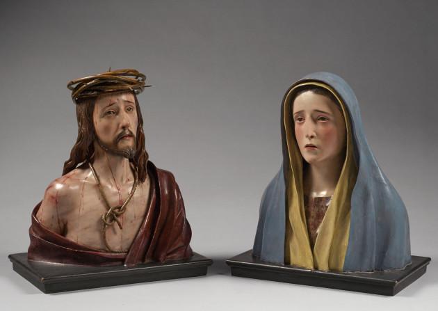 """<span class=""""artist""""><strong>Pedro de Mena y Medrano</strong></span>, <span class=""""title""""><em>Ecce Homo and Virgin Dolorosa</em>, c. 1680-88</span>"""