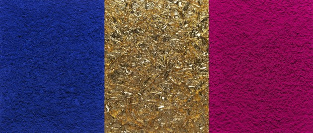 "<span class=""title"">Monochrome, Pink-Blue-Gold, after Yves Klein (Triptych) (Pictures of Pigment)<span class=""title_comma"">, </span></span><span class=""year"">2016</span>"