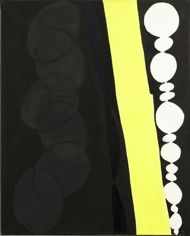 <p><b>Ernst Wilhelm Nay</b>&#160;<br /><i>Schwarz mit gelbem Band</i>, 1966</p>