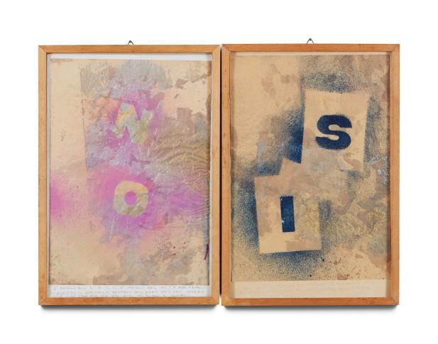 <div class=&#34;artist&#34;><strong>Alighiero Boetti</strong></div><div class=&#34;title&#34;><em>Senza Titolo (il si è Meglio del no?)</em>, 1981</div>