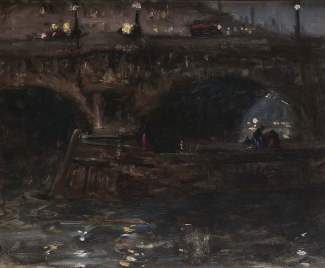 Harry William Phelan Gibb, 1870-1948,  Evening, Barge on the Seine Coasting under the Pont Neuf, Paris, 1907
