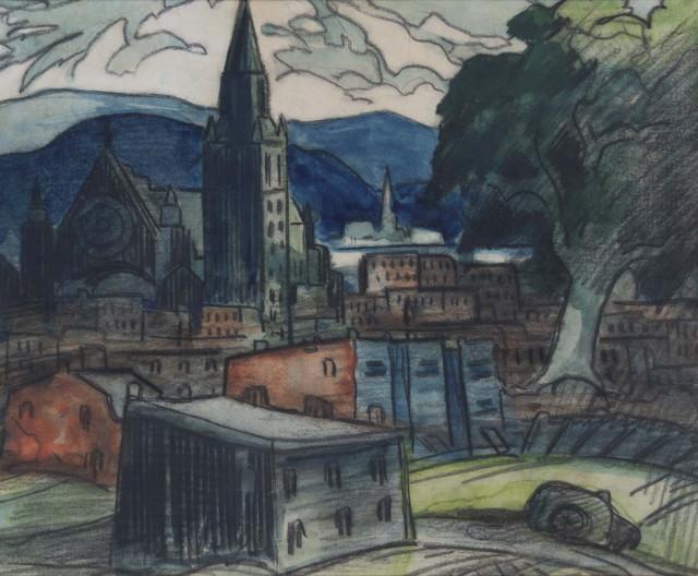 Marc-Aurèle Fortin, A.R.C.A., ''Paysage à Hochelaga'', 1946