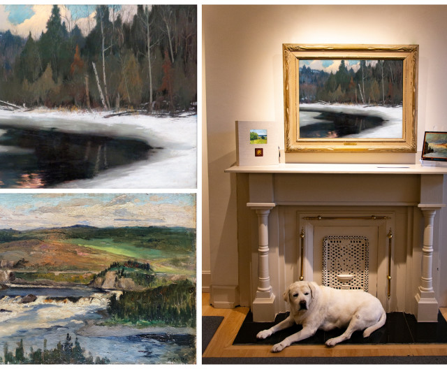 Twilight in the Laurentians above the fireplace at Galerie Alan Klinkhoff in Montreal, steadfastly protected by Winston.