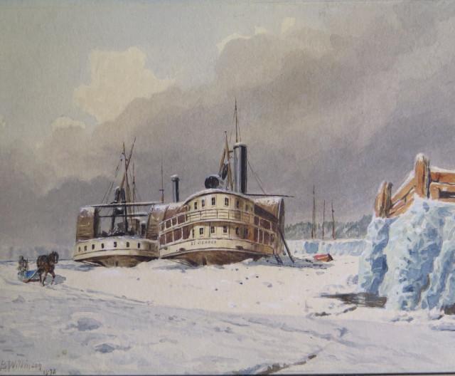 """""""Bateaux-vapeurs en hivernation, à Lévis"""", (1873) par John B. Wilkinson"""