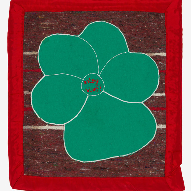 Feliciano CENTURIÓN Estoy Vivo [I am Alive], 1994 Embroidery with inclusion on blanket 44 x 52 cm [Frame: 74.5 x 81.5 cm]