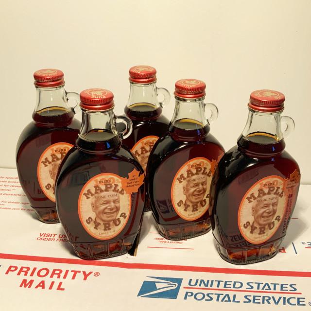 E. Tilly Strauss, Five (8oz.) bottles dark Maple syrup, 2021