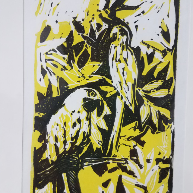 E. Tilly Strauss, Parrots in Tree, 2013