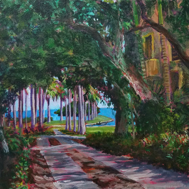 E. Tilly Strauss  Deering Estate, 2015  Acrylic on canvas  10 x 10 x 1 1/2 in  25.4 x 25.4 x 3.8 cm