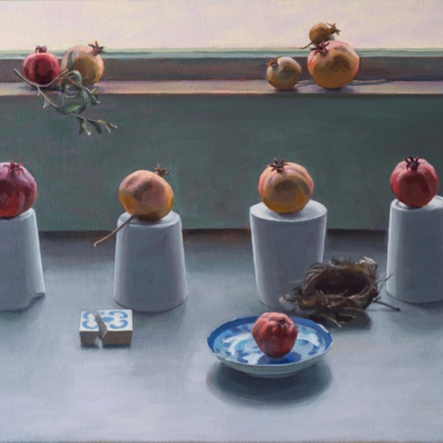 Carol Ivey, Pomegranate Grouping, 2013, Carol Ivey, oil on canvas, 24 x 32""