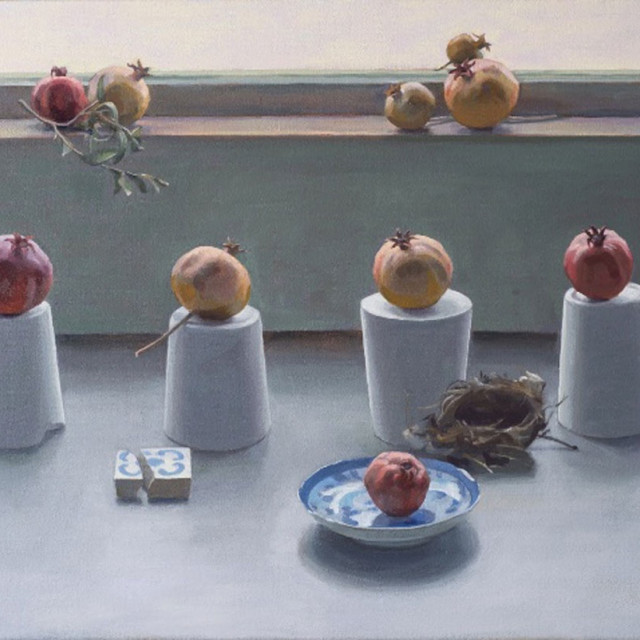 """""""Pomegranate Grouping"""" nicely embodies Ivey's abstract realism. Courtesy David Wharton"""