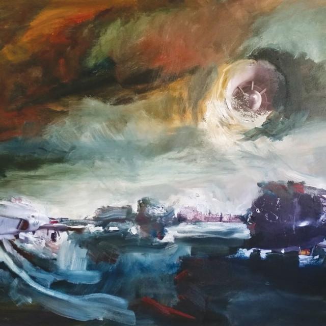 Winter Rusiloski, Luna's Surge, Oil and Collage on Canvas
