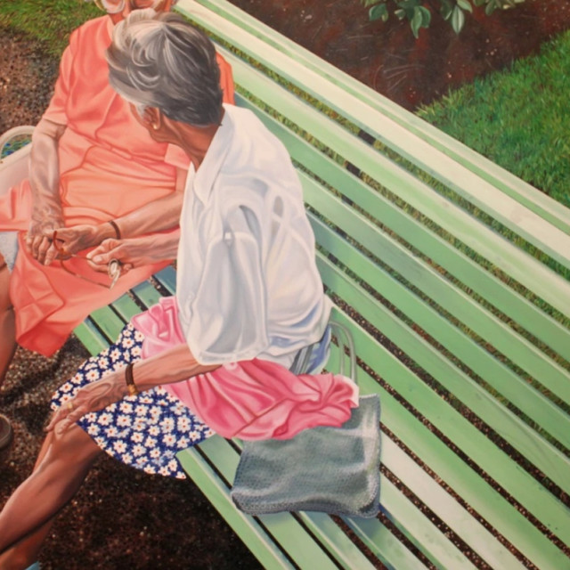 Nancy Lamb, Ladies On A Bench, Oil on Canvas