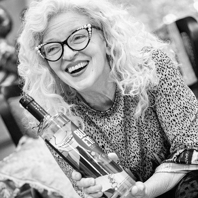Nancy Lamb's art is on a bottle of vodka. Courtesy BlackEyed Distilling Co.