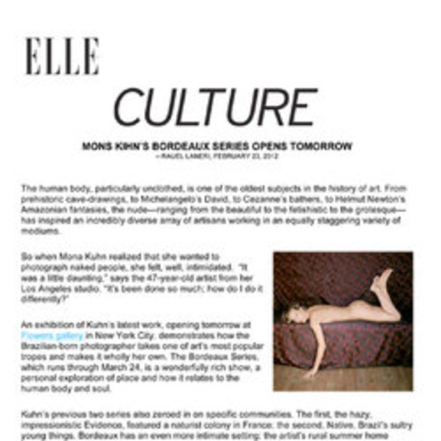 Mona Kuhn's Bordeaux Series at Flowers Gallery is Reviewed in Elle Magazine