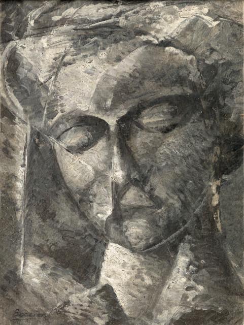 Umberto Boccioni, Female head, 1914