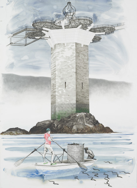 Charles Avery, Untitled (Onomatopoeia Harbour Gate, West Tower, with Oarsman in foreground), 2018