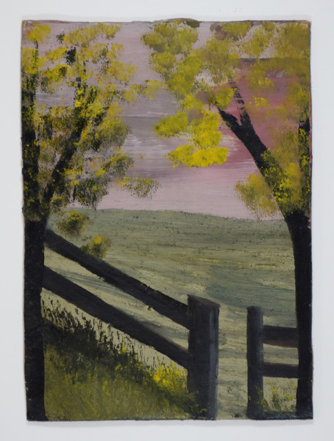 Frank Walter, Landscape with Fences and Two Trees with Yellow Blossom