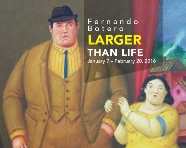 """Detail of """"Man and Woman (Pareja)"""" from Fernando Botero, Larger Than Life, January 7-February 20, 2016"""