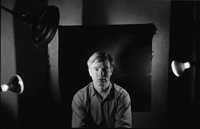 Bob Adelman, Andy Warhol under portrait lights at the Factory