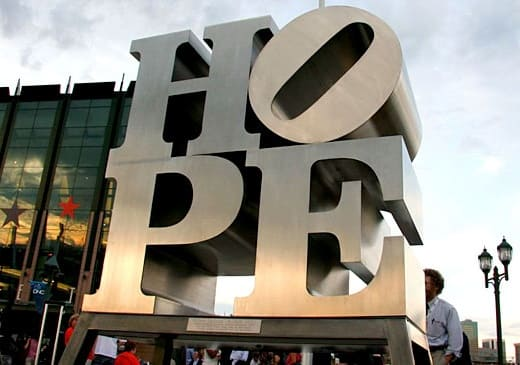 ROBERT INDIANA, HOPE, 2009, Brushed stainless steel, 72 x 72 x 36 inches (182.9 x 182.9 x 91.4 cm), Edition of VI