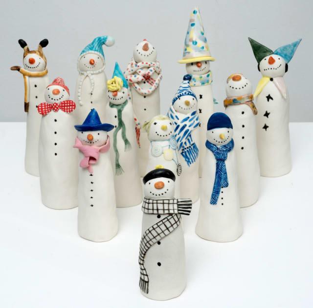 Ceramic snowmen, Clare Nicholls