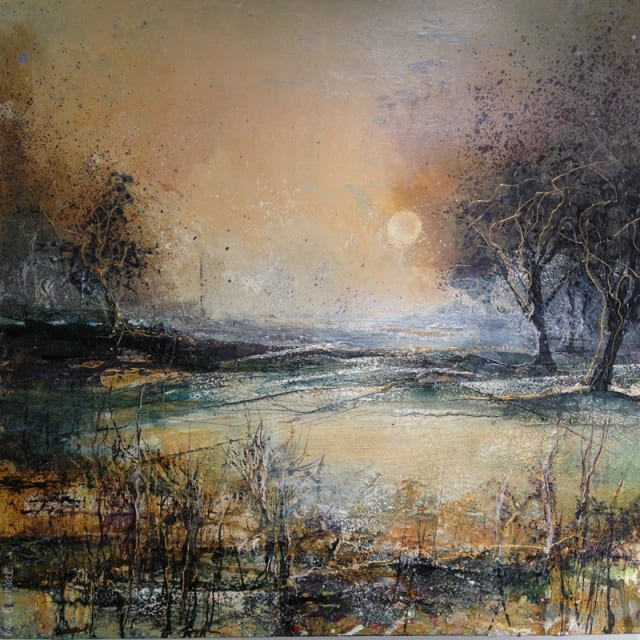 Bee Bartlett, 'Autumn Moon', mixed media on board, H 61 cm x 61 cm framed