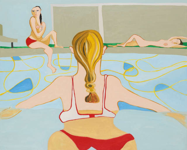 Henrietta Dubrey, 'Swimming Pool', oil on canvas, H 105 x 130 cm