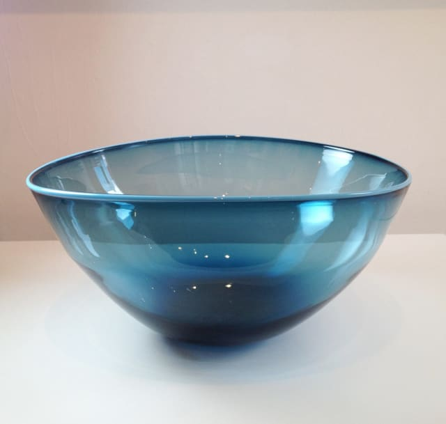 Extra Large Topaz Blue Bowl with grey rim