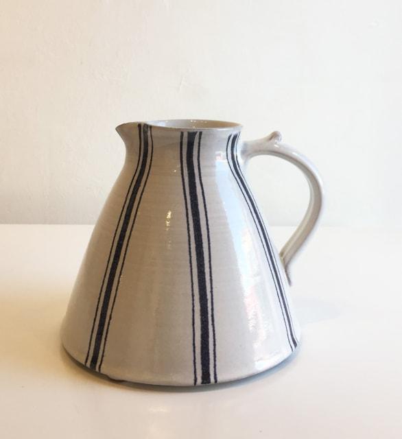 Tydd Pottery, Wide Blue Stripe On White, Medium Jug