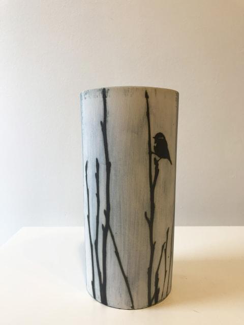 Bluetit on Magnolia, tall large vase