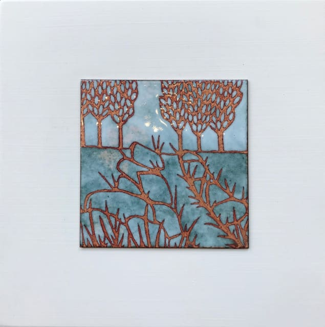 Janine Partington, Field with Trees, Small panel, 2019