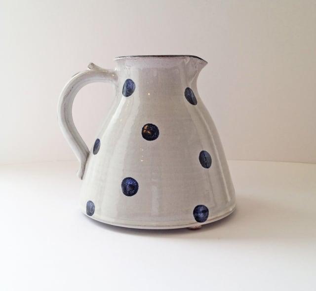 Tydd Pottery, Jug - Spots, Blue on White - Medium , 2019