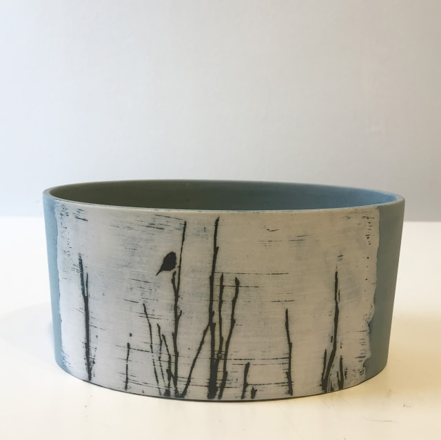 Bluetit On Magnolia, low oval vessel
