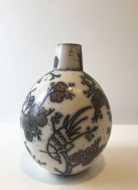 Birds on Cherry Blossom, Round Bottle