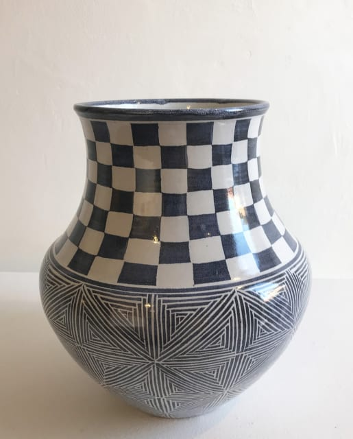 Tydd Pottery, Inca Stars and Checkerboard, Large Vessel