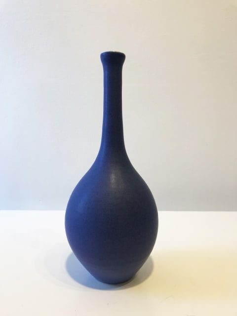 Ultramarine Blue Oval Bottle with Long Neck, Medium