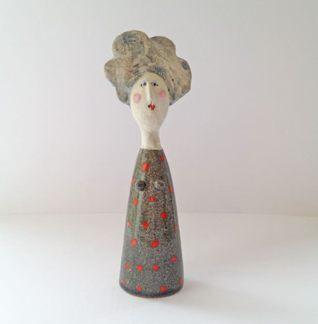 Jane Muir, Little Lady - Grey with Red Spots, 2019
