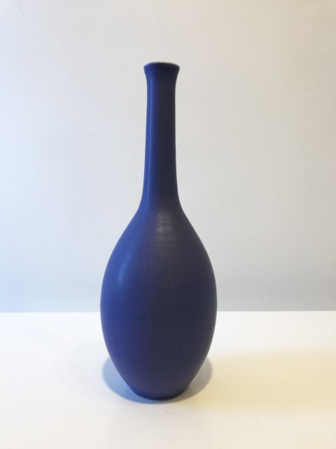 Violet Blue Oval Bottle with Long Neck, Tall