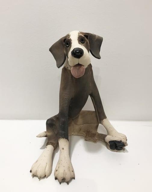 Virginia Dowe Edwards, Large Patchy Dog, Seated, 2019