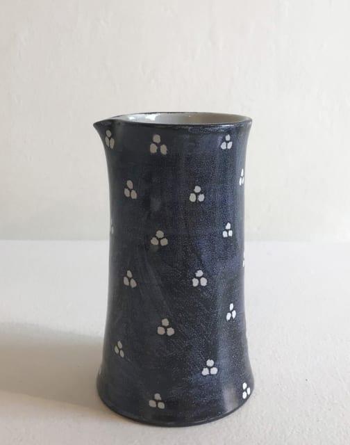 Tydd Pottery, White Tri-Spots on Blue, Juglet