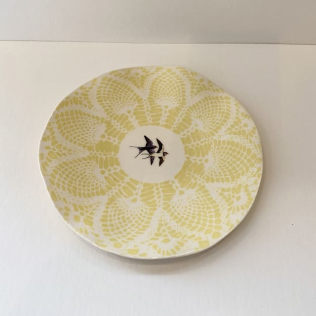 Fliff Carr, Yellow Swallows Plate, 2019