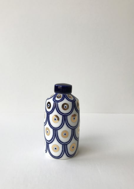Rhian Malin, Double Scalloped Straight Sided Ginger Jar with 24k Gold Lustre, Small