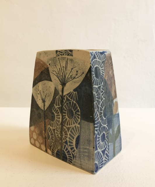 Small, Square Vase in Blue and Brown, 2019