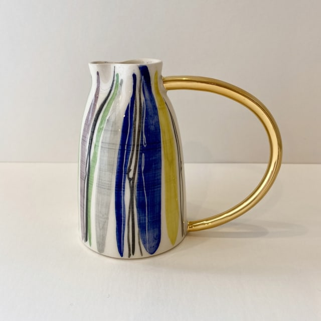 Fliff Carr, Blue Stripes Jug Gold Handle , 2019