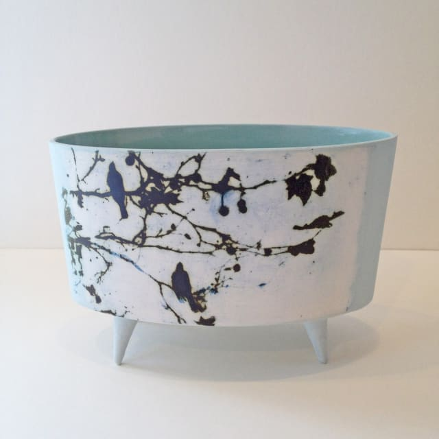 Kit Anderson, Birds In Trees Oval Vessel with Feet, 2019
